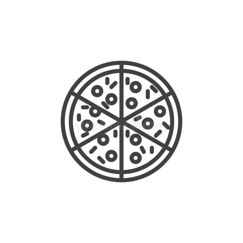 Linha ícone da pizza ilustração royalty free