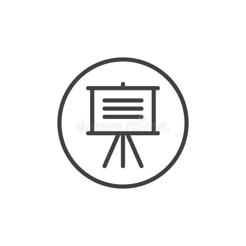 Linha ícone da placa da apresentação ilustração stock