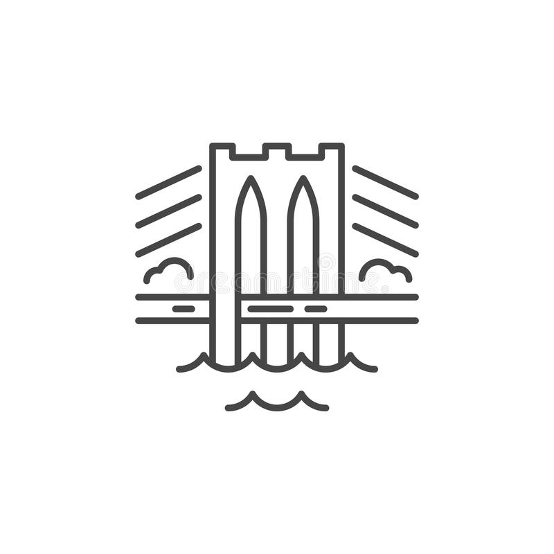 Linha ícone da ponte ilustração royalty free