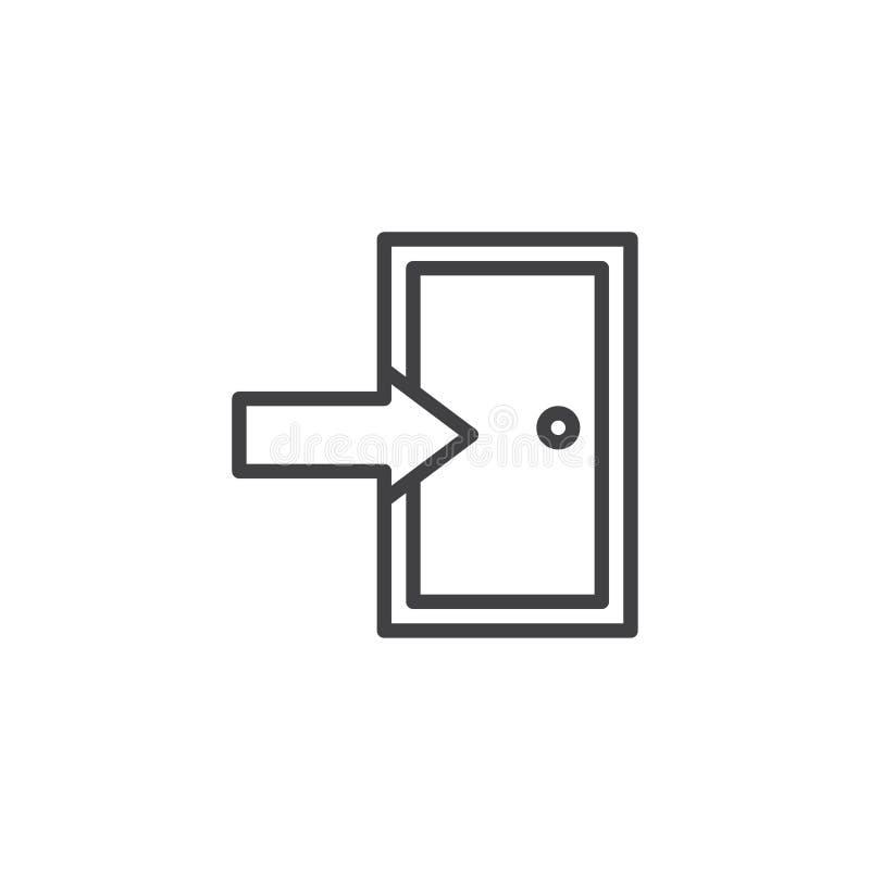 Linha ícone da porta de saída ilustração royalty free