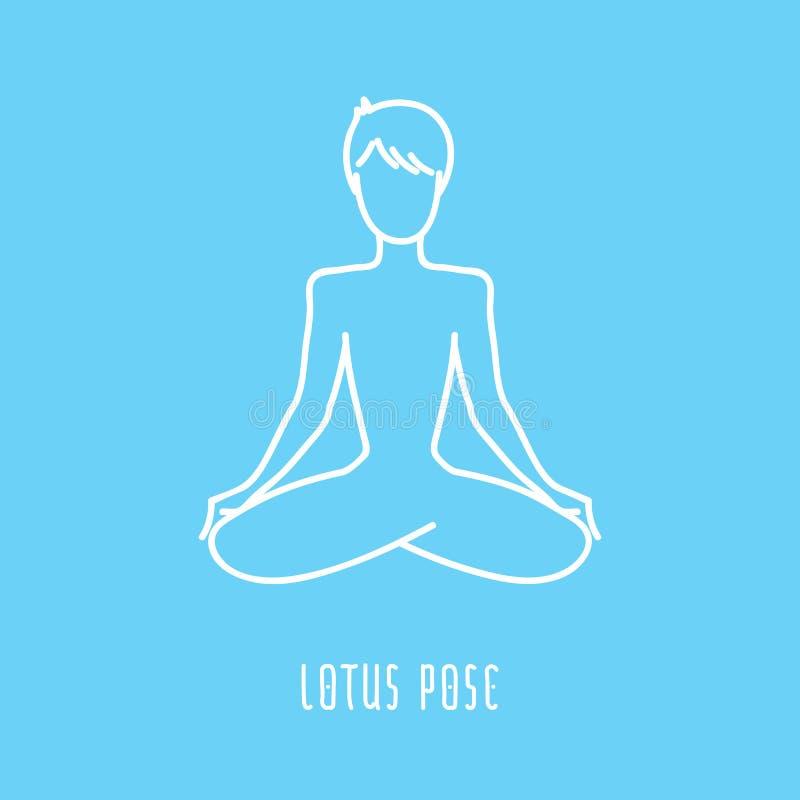 Linha ícone da pose da ioga ilustração stock