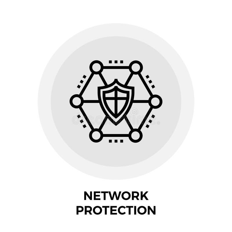 Linha ícone da proteção da rede ilustração do vetor