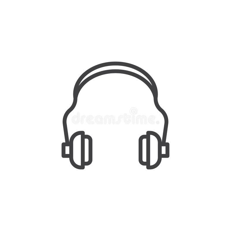 Linha ícone da proteção de audição ilustração do vetor