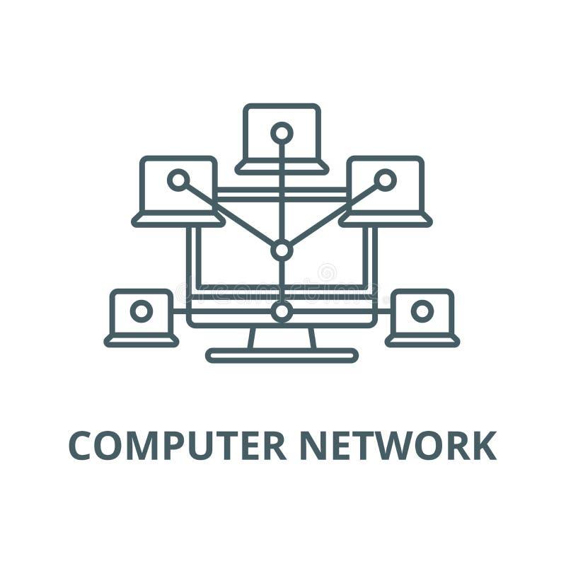 Linha ícone da rede informática, vetor Sinal do esboço da rede informática, símbolo do conceito, ilustração lisa ilustração royalty free