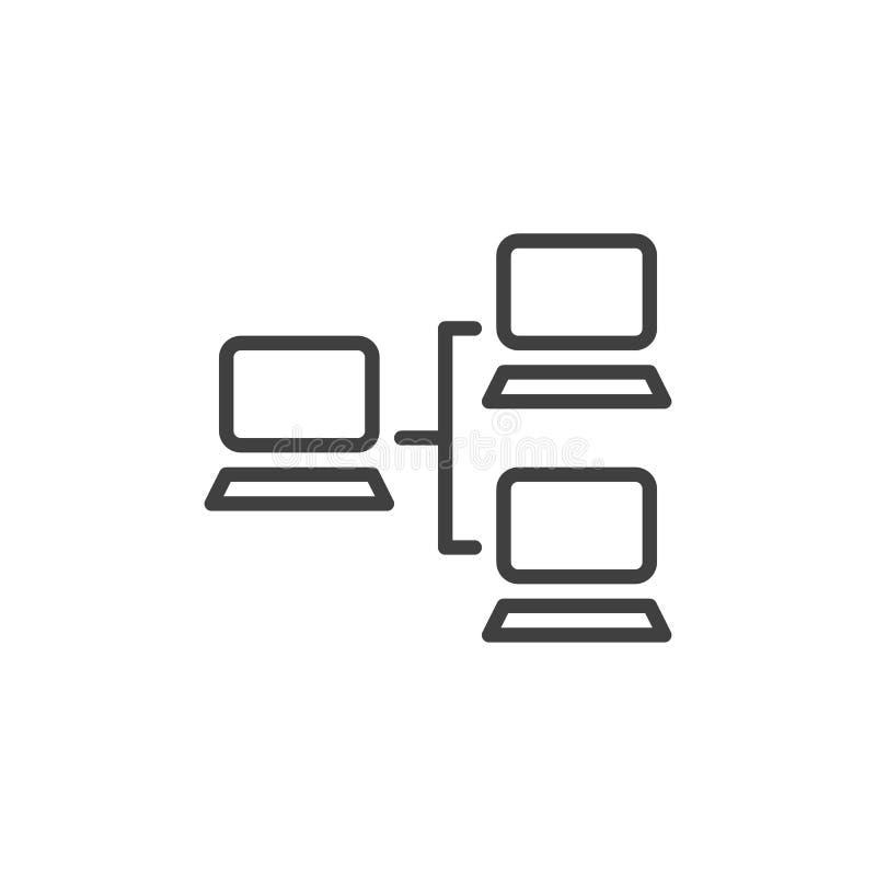 Linha ícone da rede local ilustração stock
