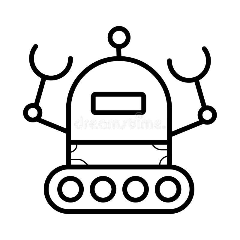 Linha ícone da robótica, pictograma do robô, mecânico ilustração royalty free