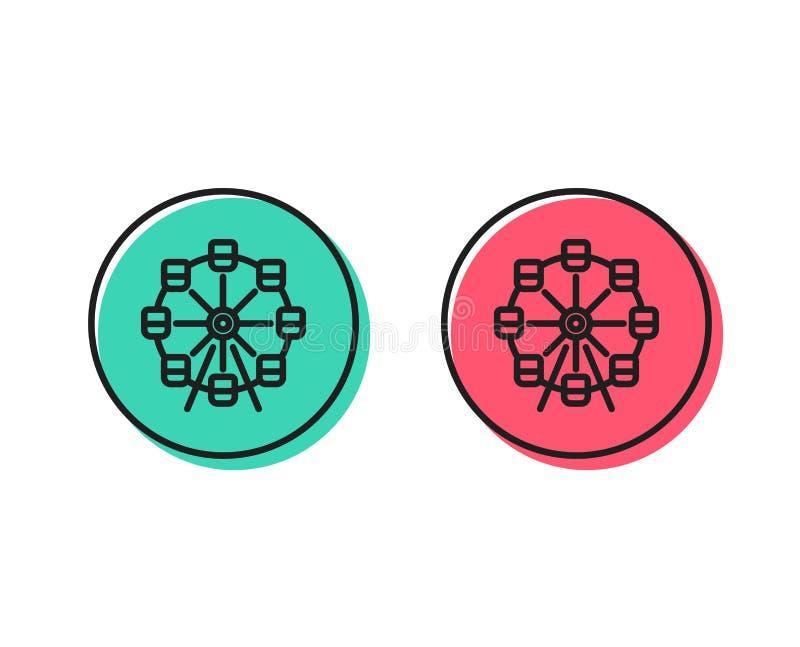 Linha ícone da roda de Ferris Sinal do parque de diversões Vetor ilustração stock