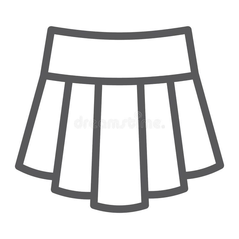 A linha ícone da saia, a roupa e a fêmea, roupa da menina assinam, os gráficos de vetor, um teste padrão linear em um fundo branc ilustração royalty free