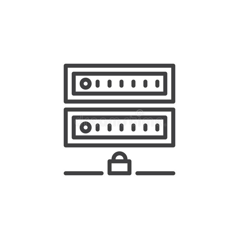 Linha ícone da segurança do servidor de computador ilustração do vetor