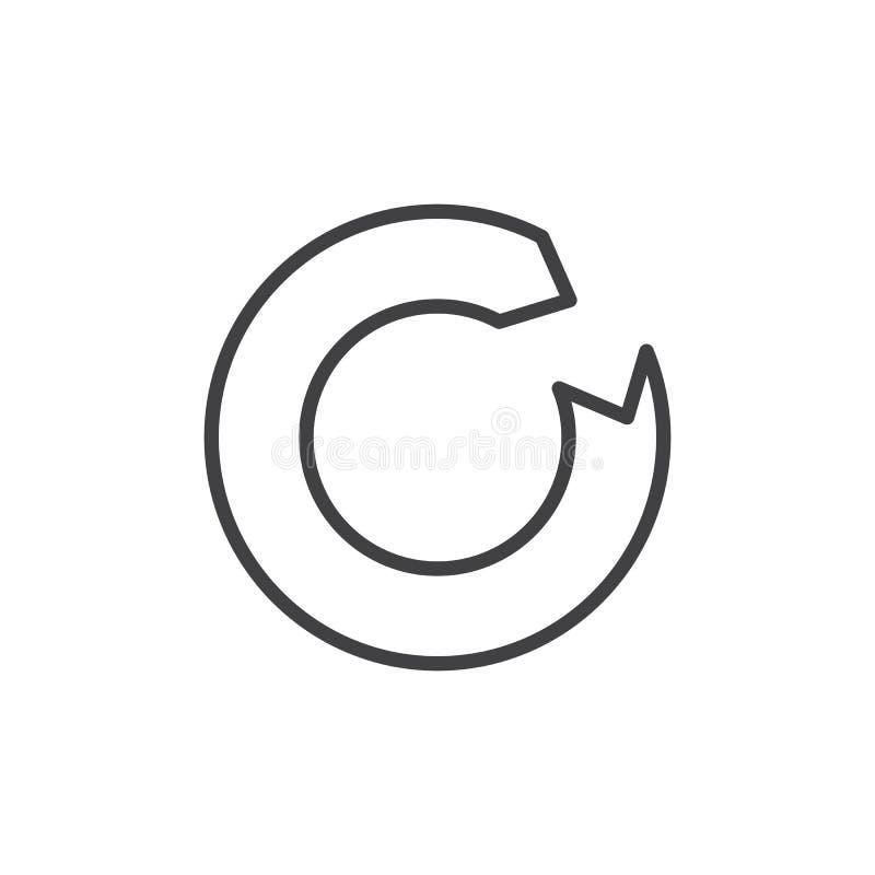 Linha ícone da seta do Reload ilustração stock
