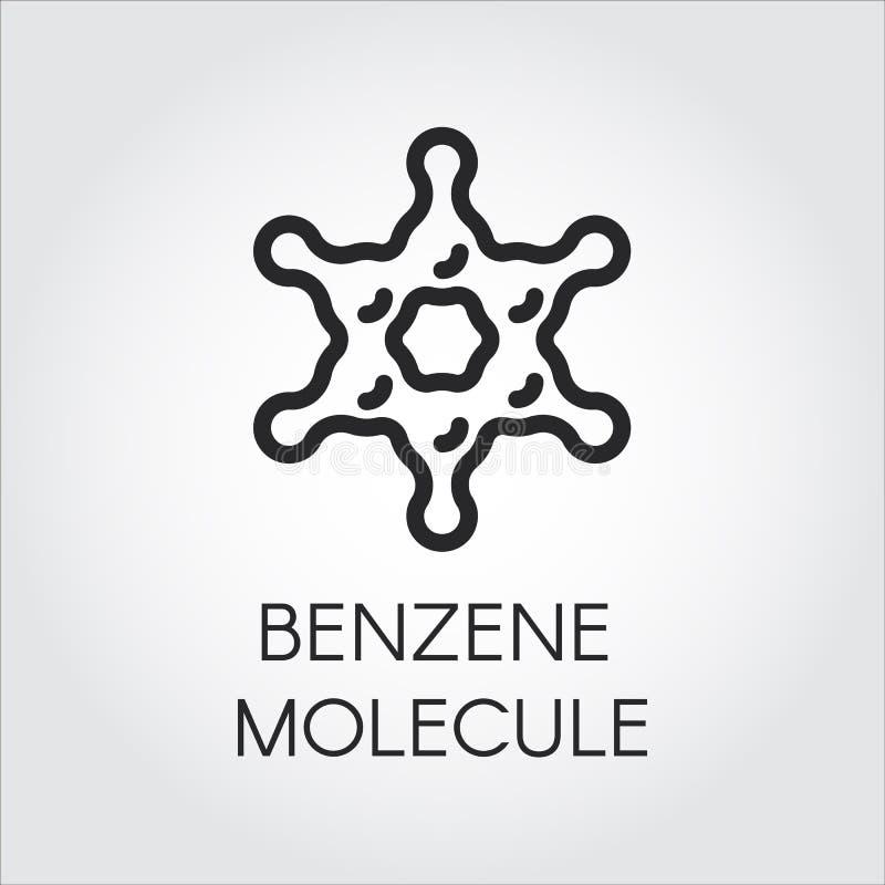 Linha ícone da simplicidade de molécula do benzeno Composto químico orgânico C6H6 Logotipo do contorno do hidrocarboneto aromátic ilustração royalty free