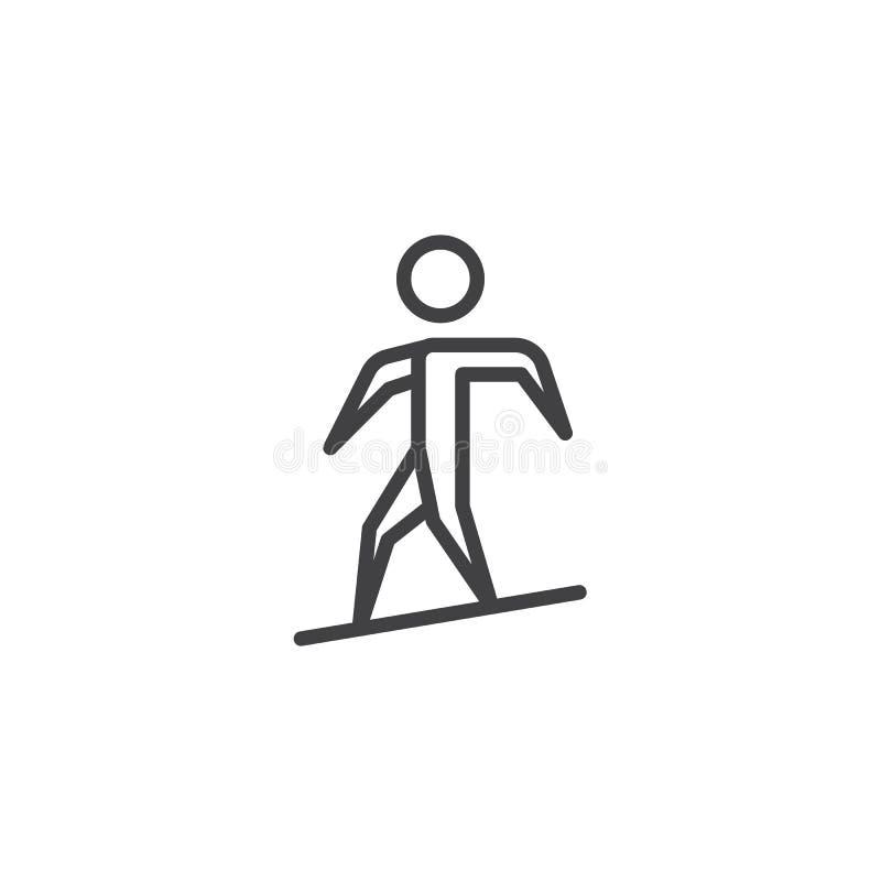 Linha ícone da snowboarding do homem ilustração royalty free