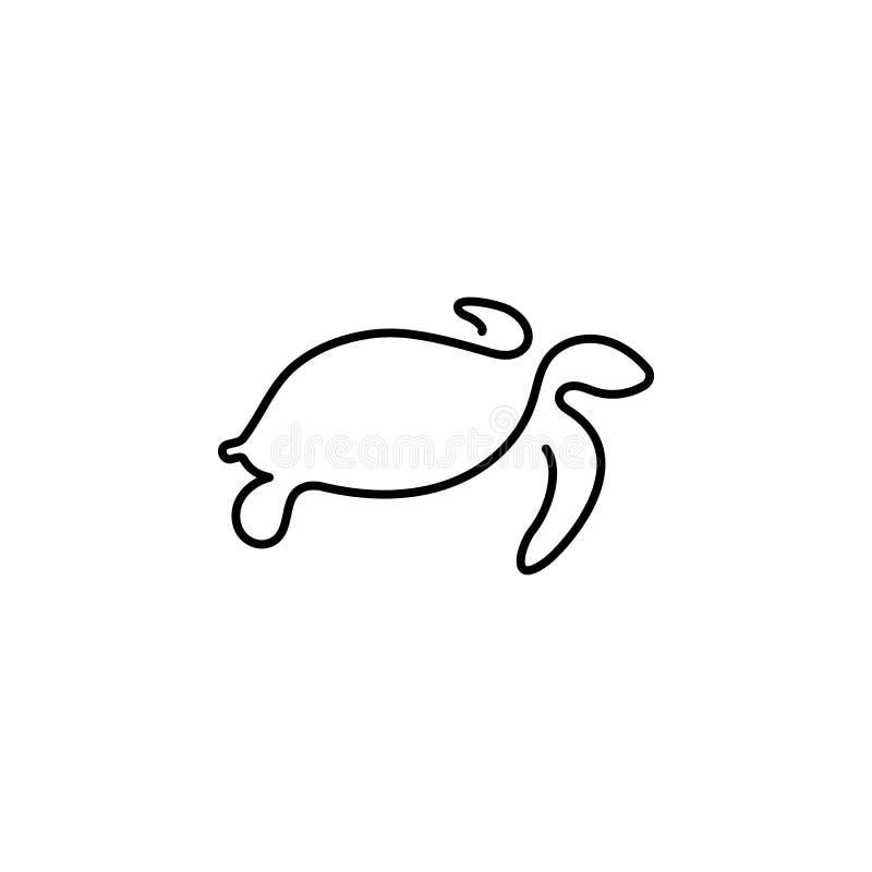 Linha ícone da tartaruga uma Elemento do ícone animal Linha fina ?cone para o projeto do Web site e o desenvolvimento, desenvolvi ilustração stock