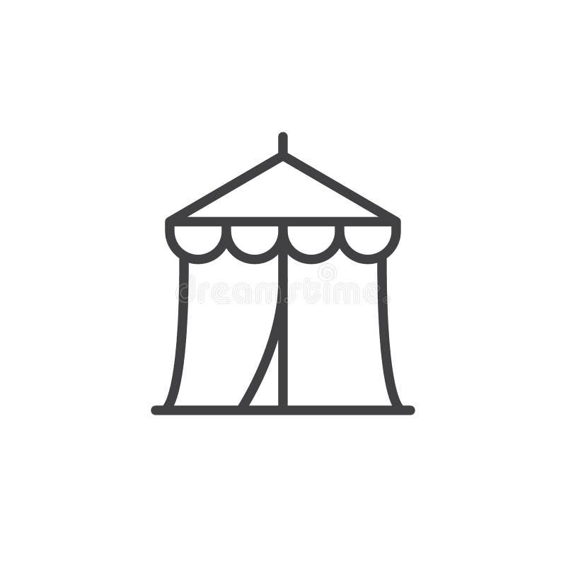 Linha ícone da tenda do circus ilustração stock