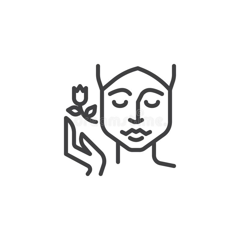 Linha ícone da terapia dos termas da cara ilustração royalty free