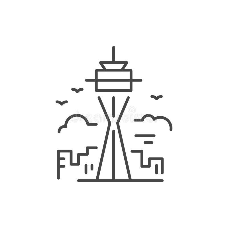 Linha ícone da torre ilustração do vetor