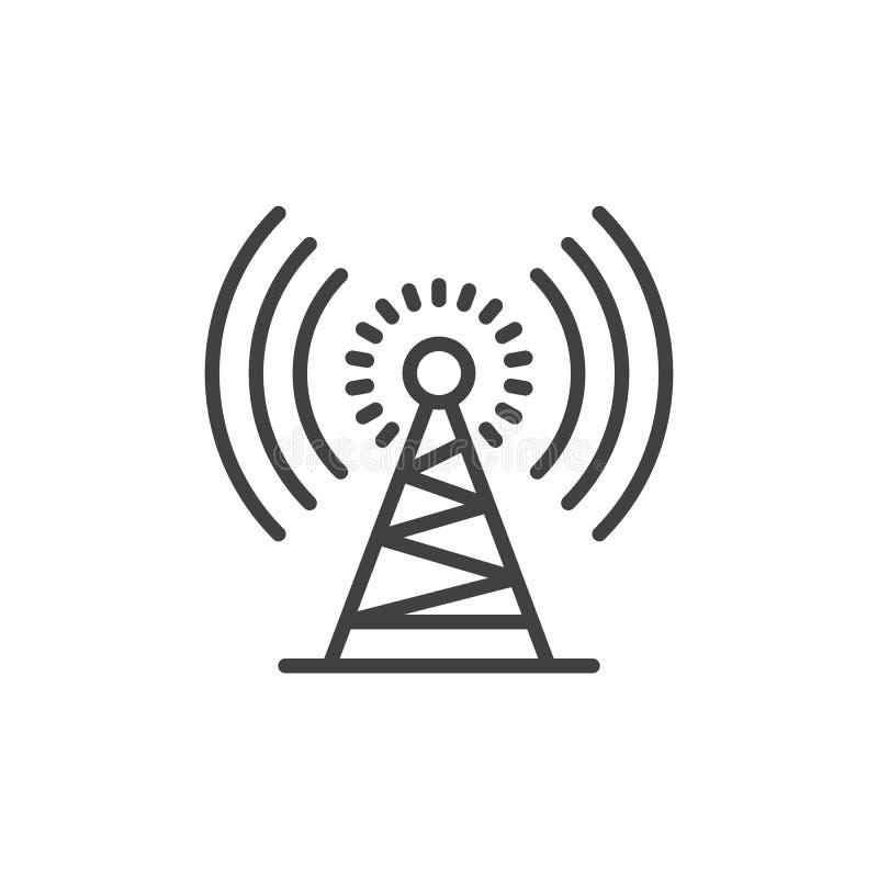 Linha ícone da torre de antena, sinal do vetor do esboço, pictograma linear do estilo isolado no branco ilustração royalty free