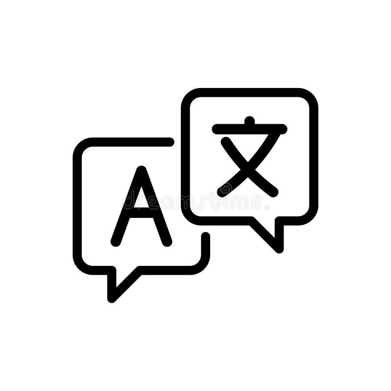 Linha ícone da tradução de língua, sinal do vetor do esboço, pictograma linear isolado no branco ilustração royalty free