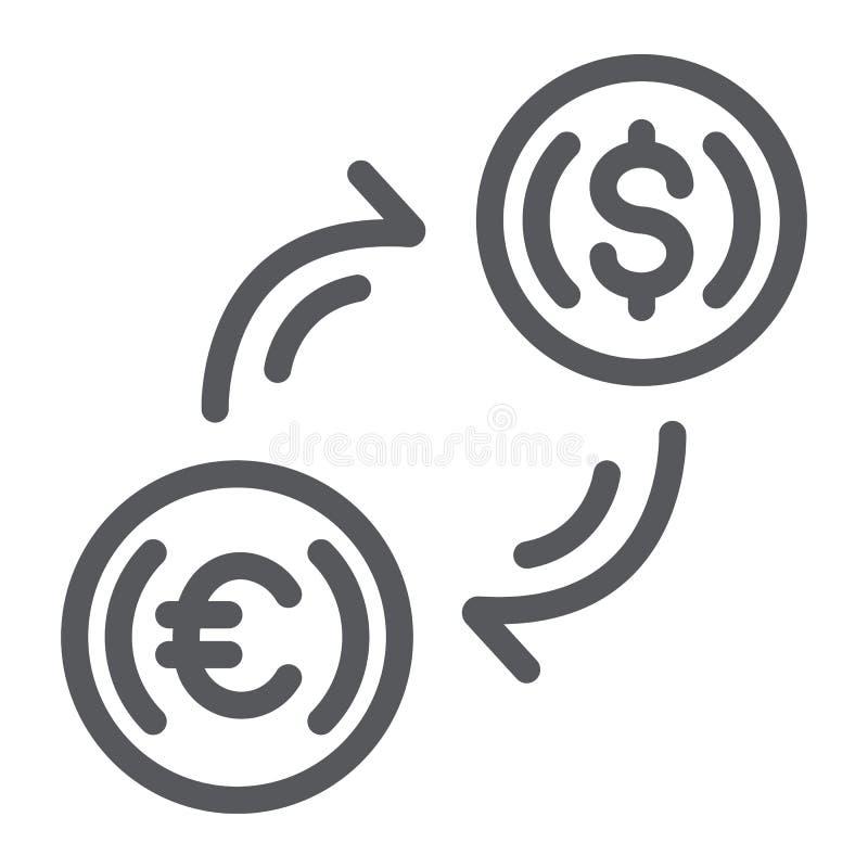 Linha ícone da troca de dinheiro, finança e operação bancária, sinal de transferência de moeda, gráficos de vetor, um teste padrã ilustração stock