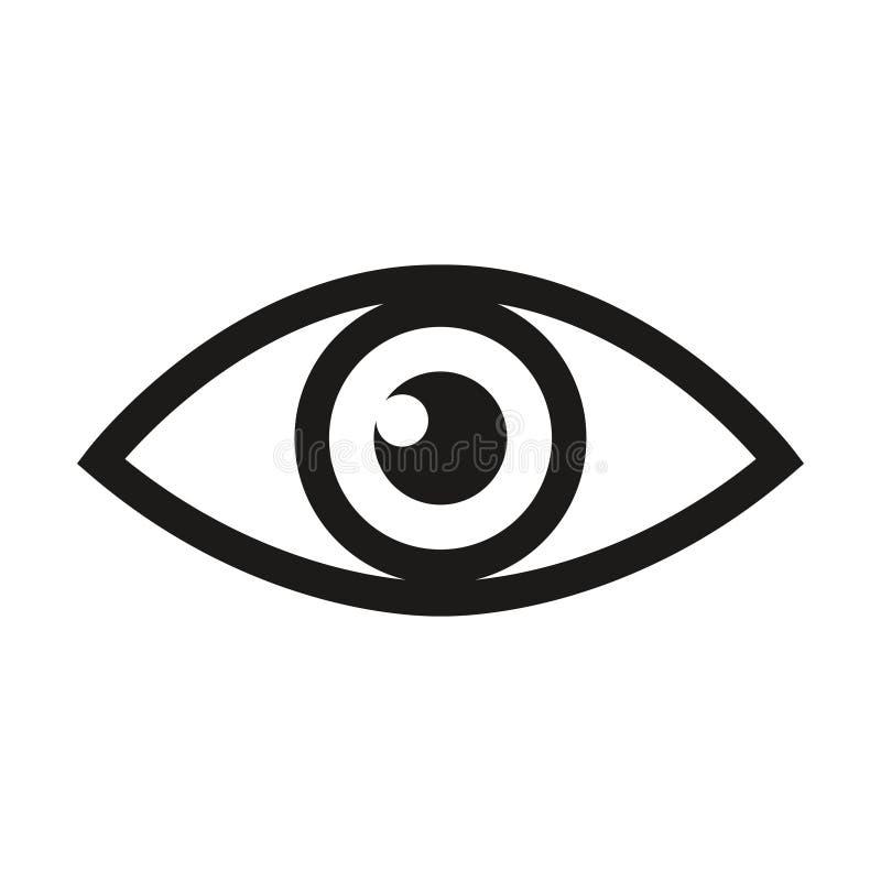 Linha ícone da varredura da retina do olho ou do exame de olho da optometria da arte para apps e Web site médicos ilustração royalty free