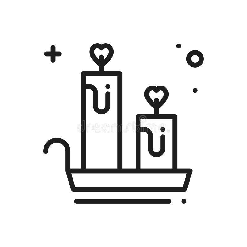 Linha ícone da vela do aroma Sinal e símbolo do coração Ame o tema romântico do abrandamento do bem-estar do aroma da aromaterapi ilustração do vetor