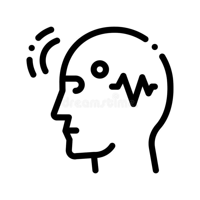 Linha ícone de Brain Telepathic Control Vetora Thin ilustração royalty free