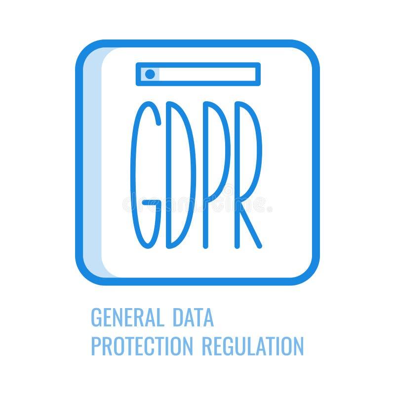 Linha ícone de GDPR - símbolo regulamentar da proteção de dados geral ilustração do vetor