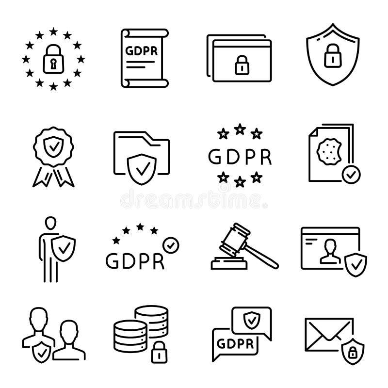 Linha ícone de GDPR, símbolo regulamentar da proteção de dados geral ilustração stock
