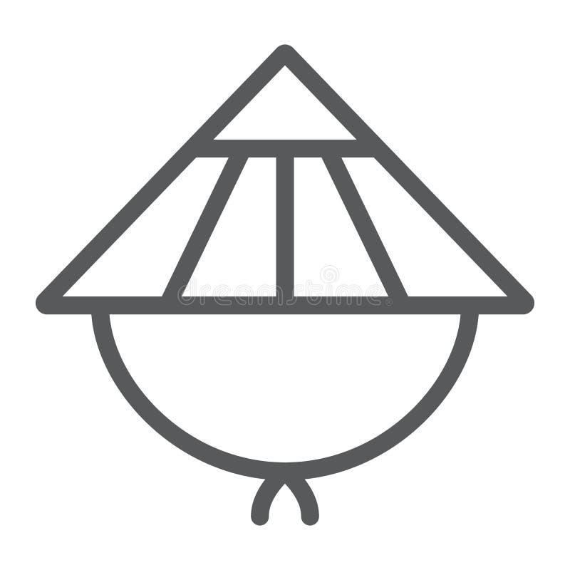 Linha ícone de Kasa, asiático e tampão, sinal japonês do chapéu, gráficos de vetor, um teste padrão linear em um fundo branco ilustração stock
