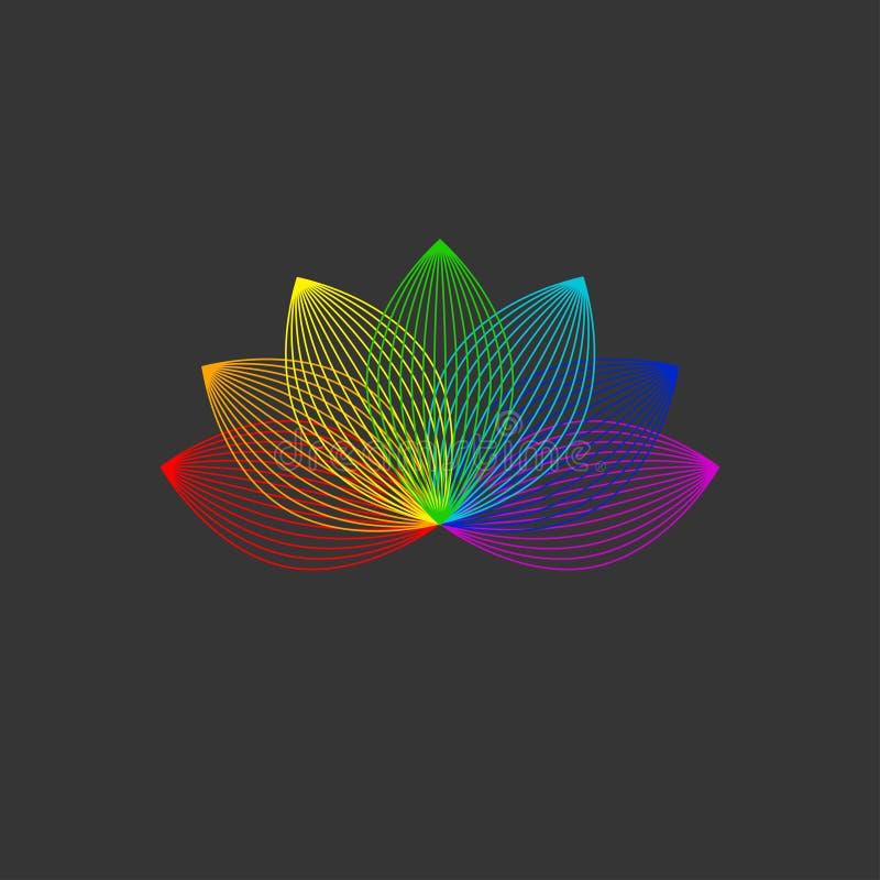Linha ícone de Lotus da cor ilustração do vetor