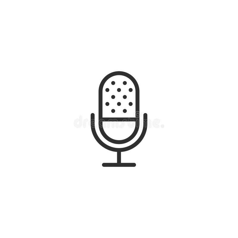 A linha ícone de Micrphone do vetor isolou 7 ilustração stock