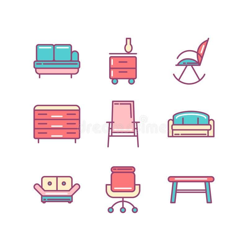 Linha ícone de sofá, mobília, objeto isolado Linha ícones ajustados ilustração stock
