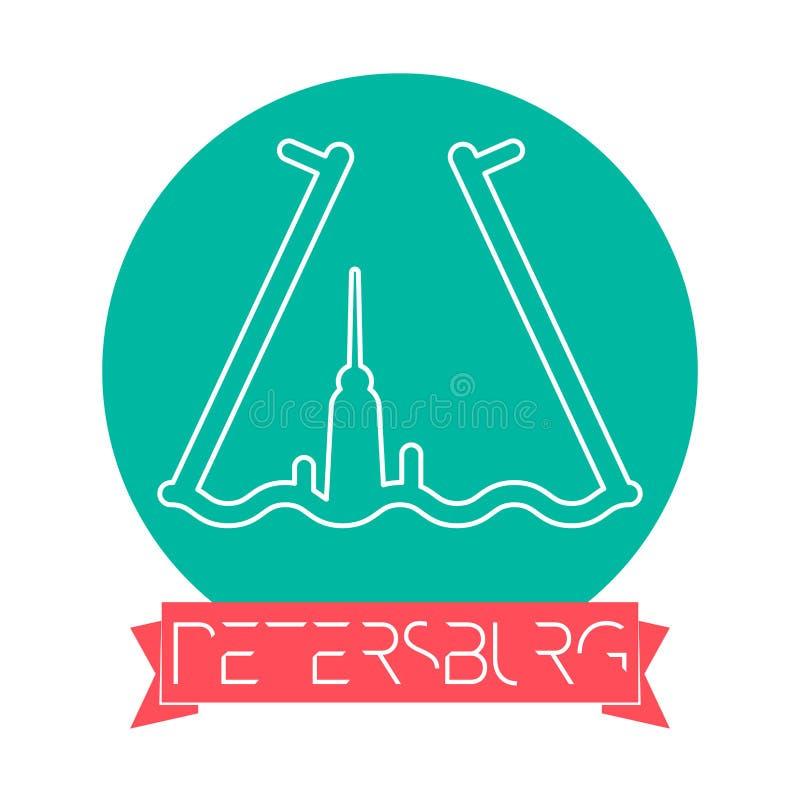 Linha ícone de St Petersburg - de Rússia com subtítulo na bandeira da fita Emblema de St Petersburg, marco, símbolo do vetor neva ilustração do vetor