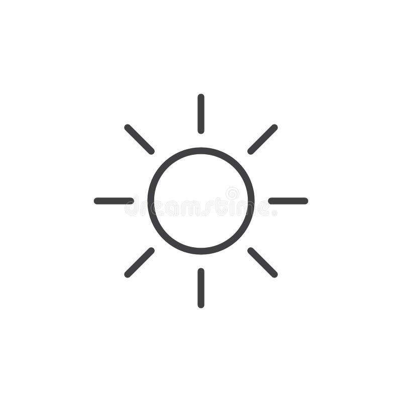 Linha ícone de Sun ilustração stock