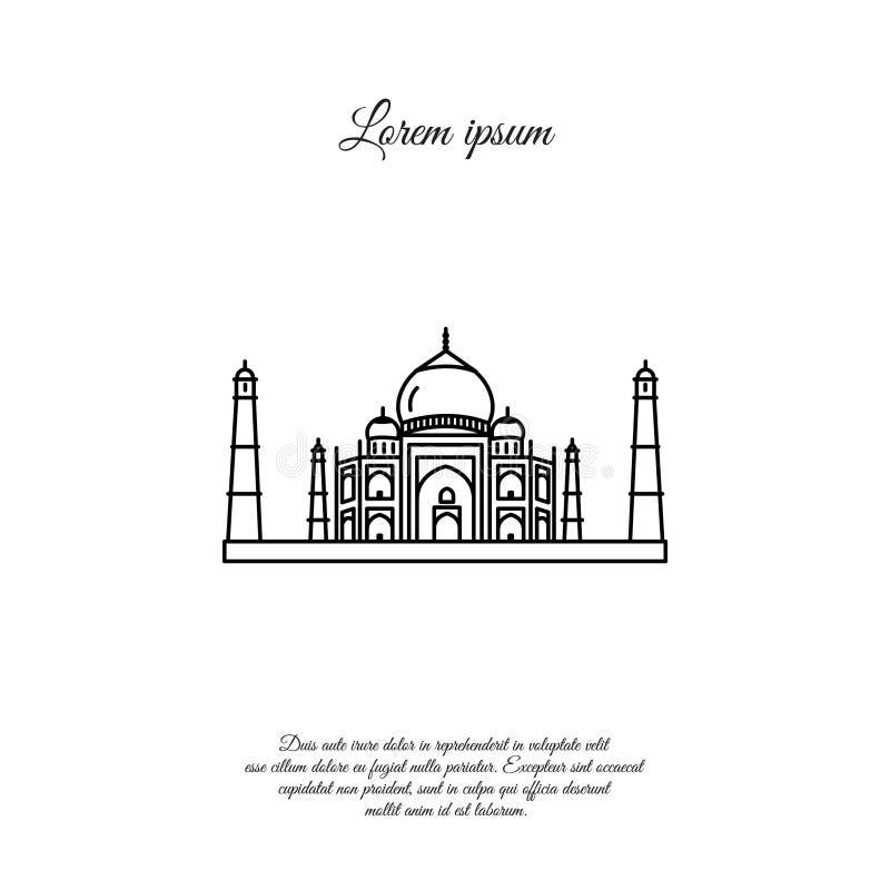 Linha ícone de Taj Mahal, sinal ilustração royalty free