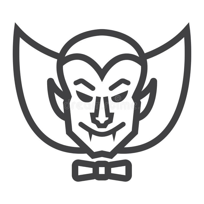 Linha ícone, Dia das Bruxas e assustador do vampiro de Dracula ilustração stock