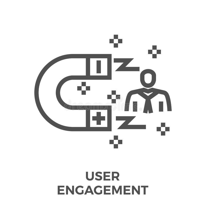 Linha ícone do acoplamento do usuário ilustração stock