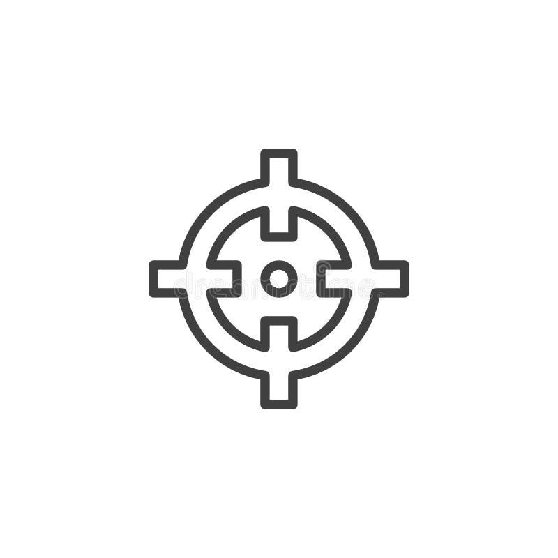 Linha ícone do alvo do foco ilustração stock