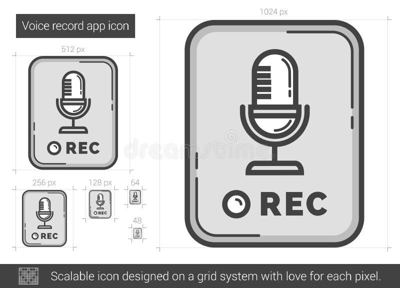 Linha ícone do app do registro da voz ilustração royalty free