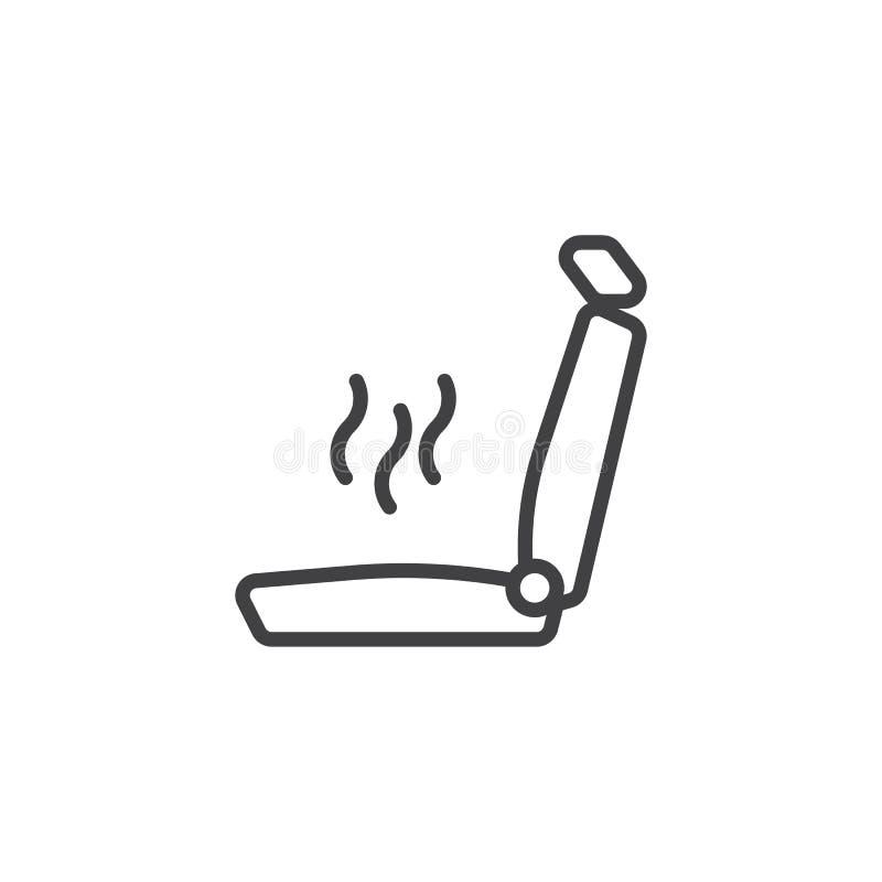 Linha ícone do aquecimento do banco de carro ilustração stock
