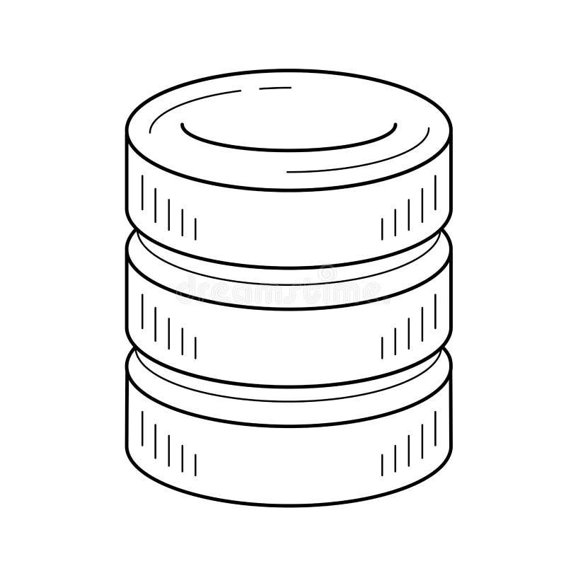 Linha ícone do armazenamento de dados  ilustração do vetor