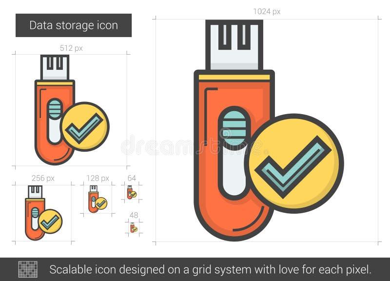 Linha ícone do armazenamento de dados  ilustração royalty free