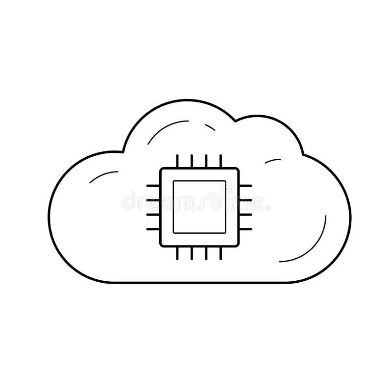 Linha ícone do armazenamento de dados da nuvem ilustração royalty free