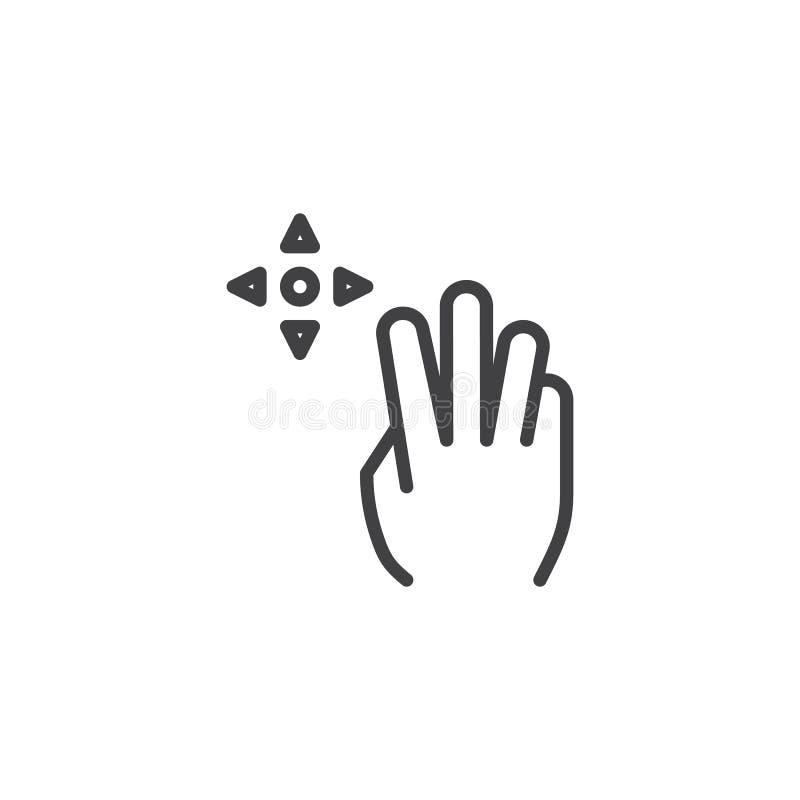 linha ?cone do arrasto 3x ilustração do vetor