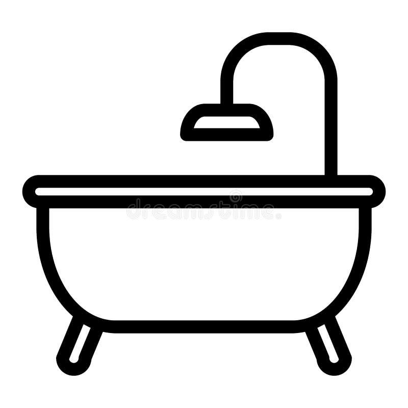 Linha ícone do banho Ilustração do vetor do banheiro isolada no branco Projeto do estilo do esboço da banheira, projetado para a  ilustração stock