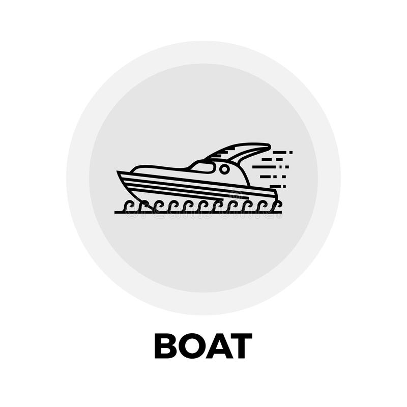 Linha ícone do barco ilustração stock