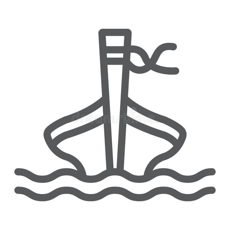 Linha ícone do barco da cauda longa, carneiros e mar, sinal do barco da TAI, gráficos de vetor, um teste padrão linear em um fund ilustração do vetor