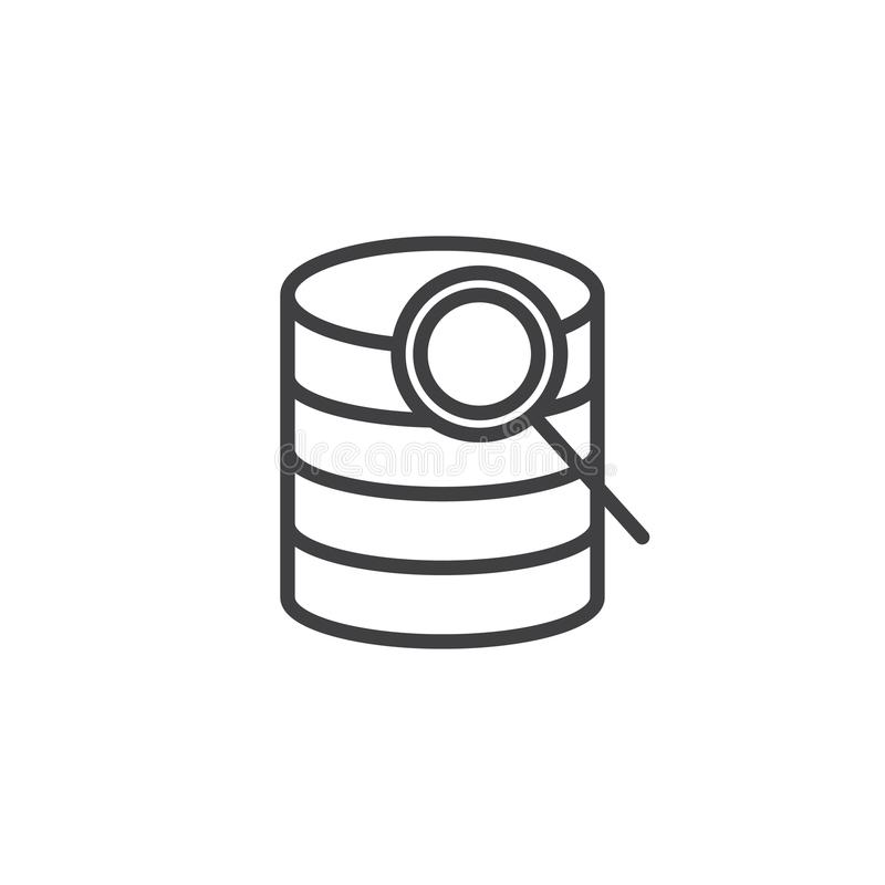 Linha ícone do base de dados da busca ilustração royalty free