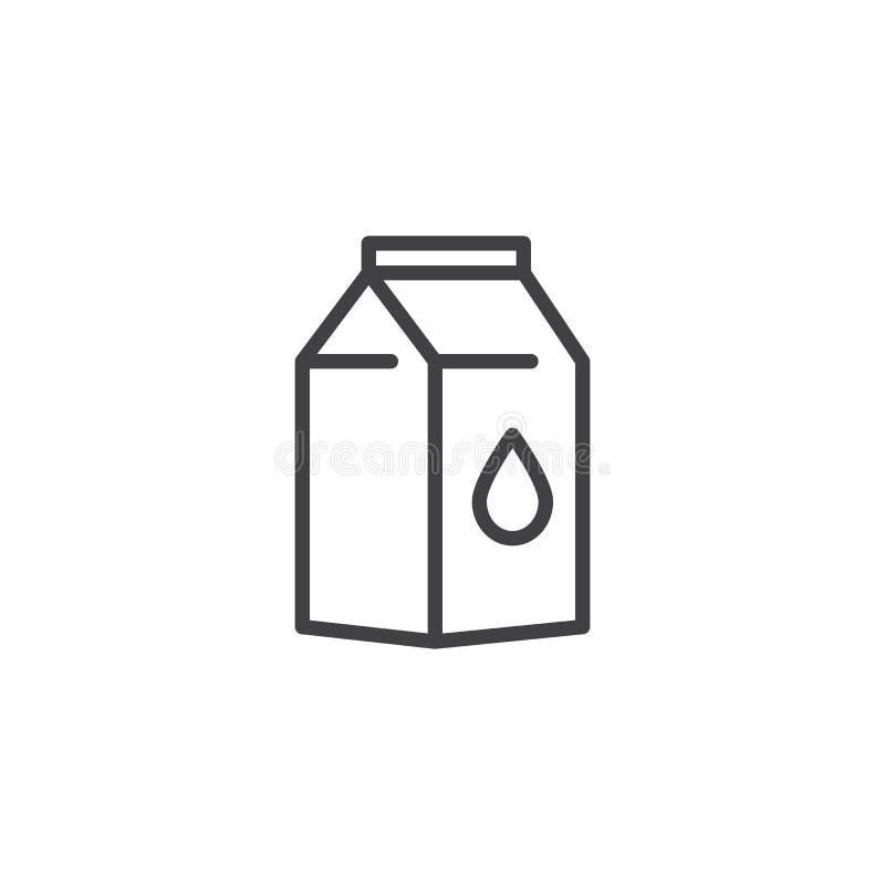 Linha ícone do bloco do leite ilustração royalty free