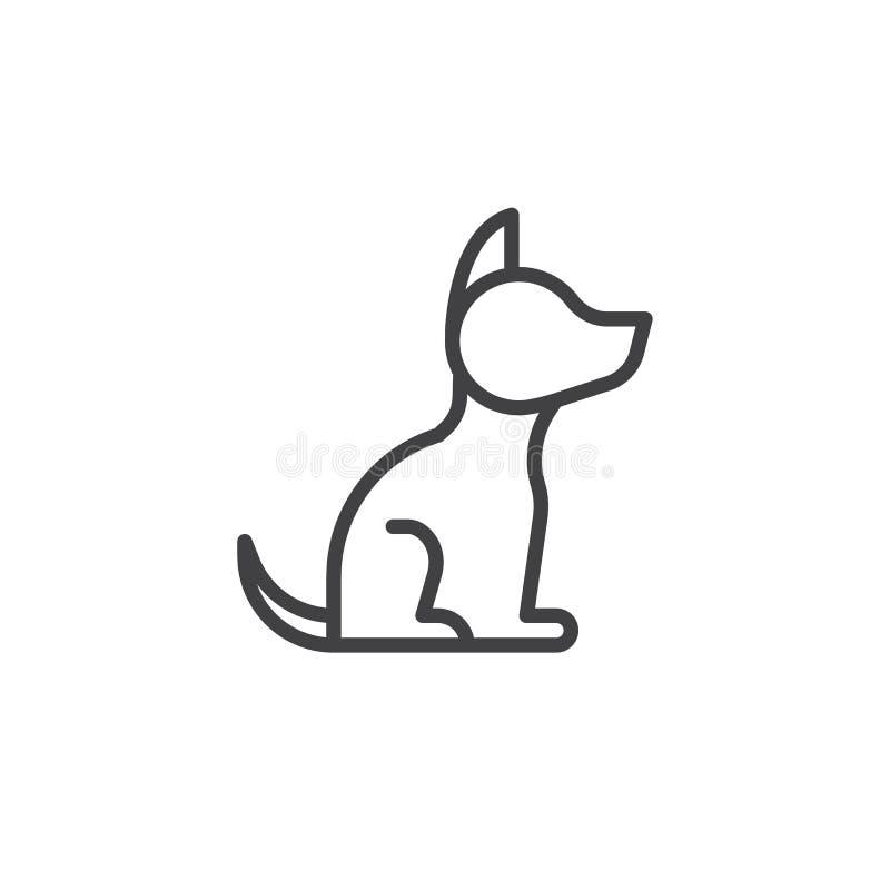 Linha ícone do cão ilustração stock